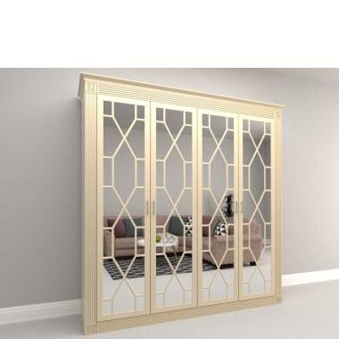 Четырехдверный распашной шкаф Клевер с зеркалами