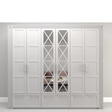 Белый распашной шкаф Оледжио с витражом