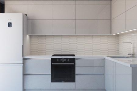 Белая глянцевая кухня Грей