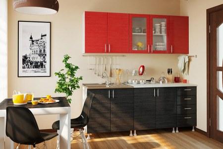Кухня Микс красно-черный