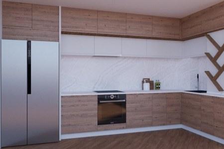 Угловая кухня Орех Сангалло фото