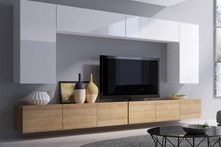 Стенка модерн с навесными шкафами фото