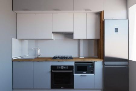 Небольшая кухня с двумя уровнями ящиков фото